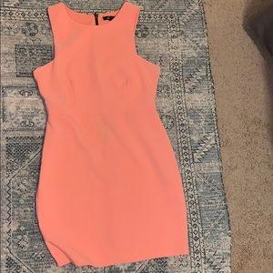 Salmon Body Con Dress with Zipper